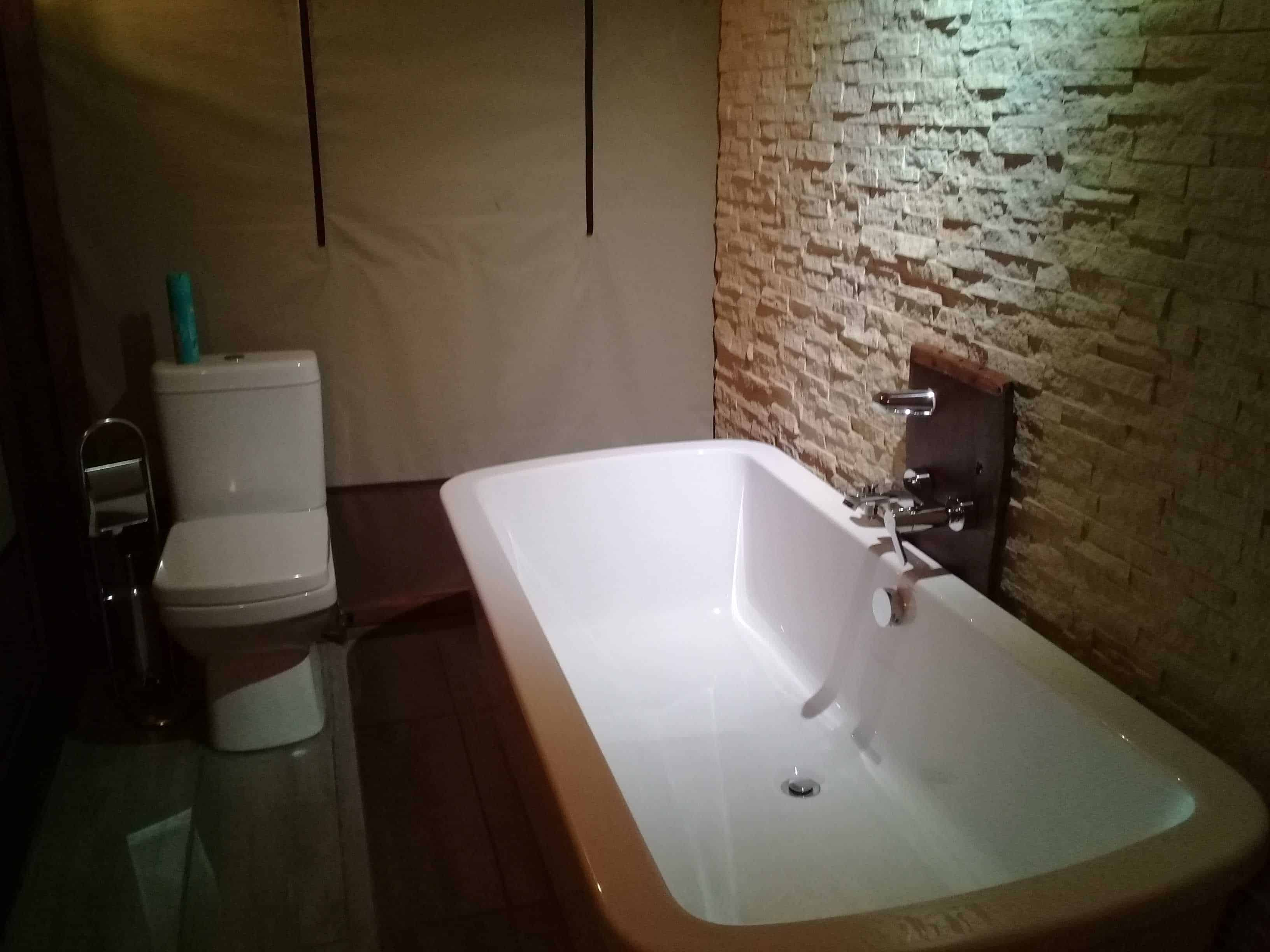 luxury tents bathroom